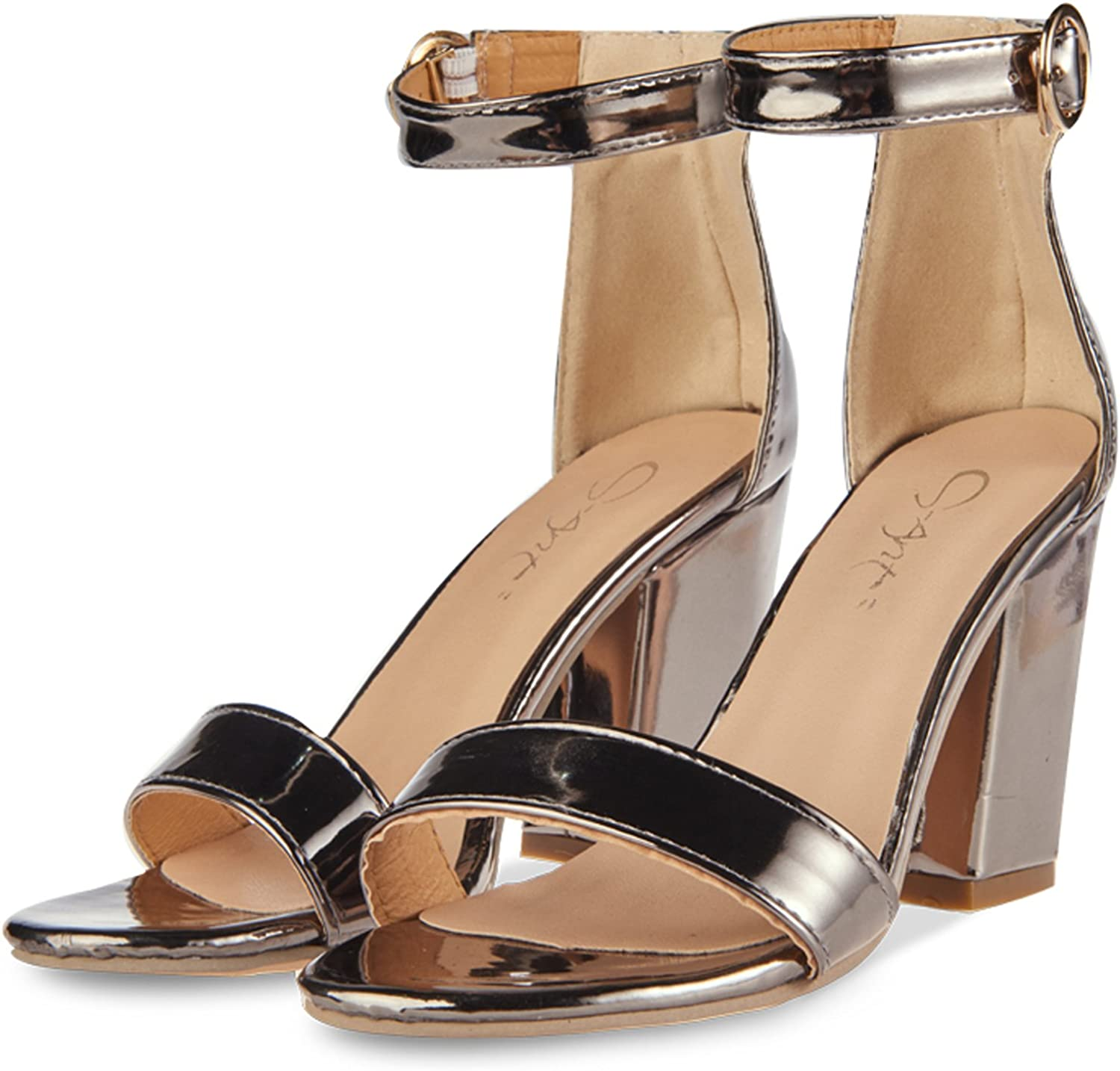 JSUN7 Women's Chunky High Heel Sandals Block Ankle Strap with Buckle Sandal Stiletto Heels Fashion Party shoes for Women