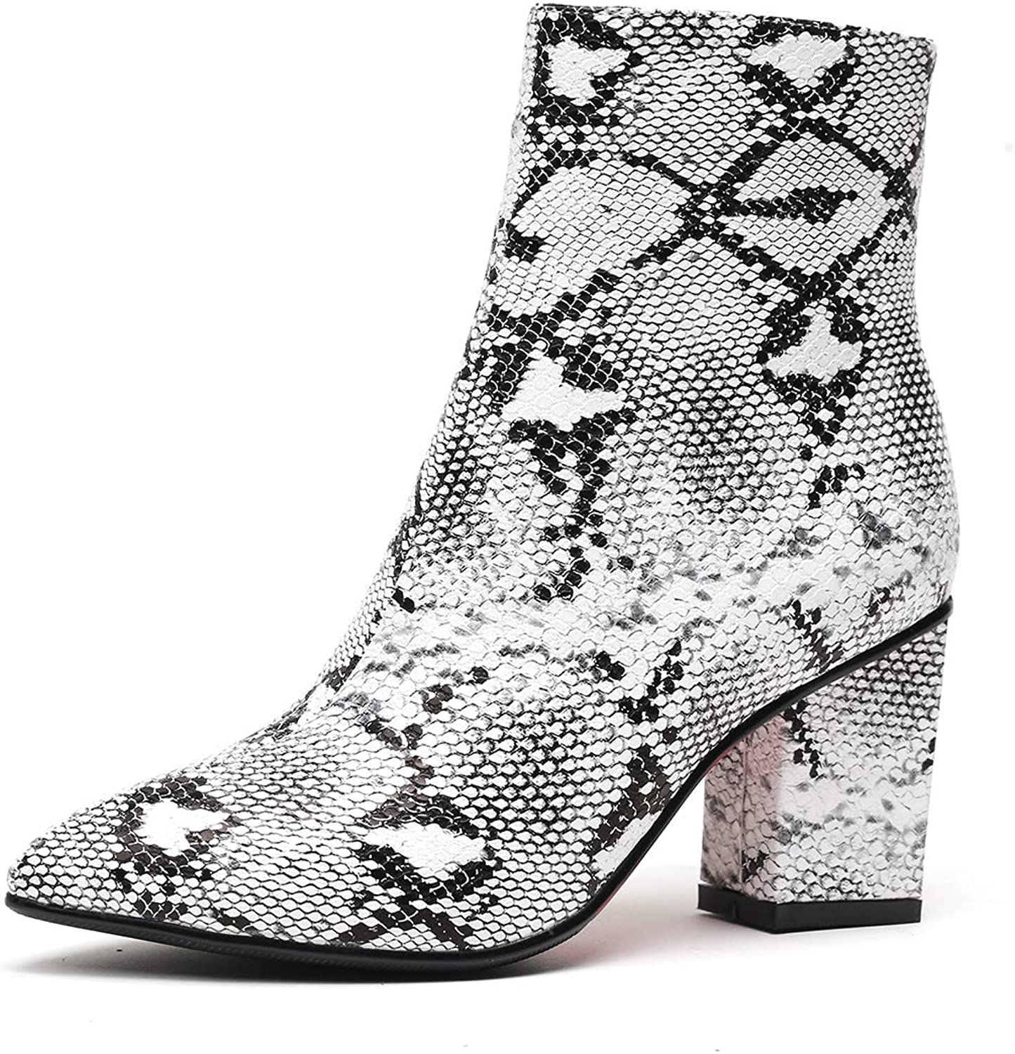 SHOWADAY Women's Ankle Boots Snakeskin Print Chunky Heel Faux Fur Winter Bootie