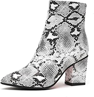 Snakeskin Booties Women Ankle Boots Chunky Heel Faux Fur Winter Bootie
