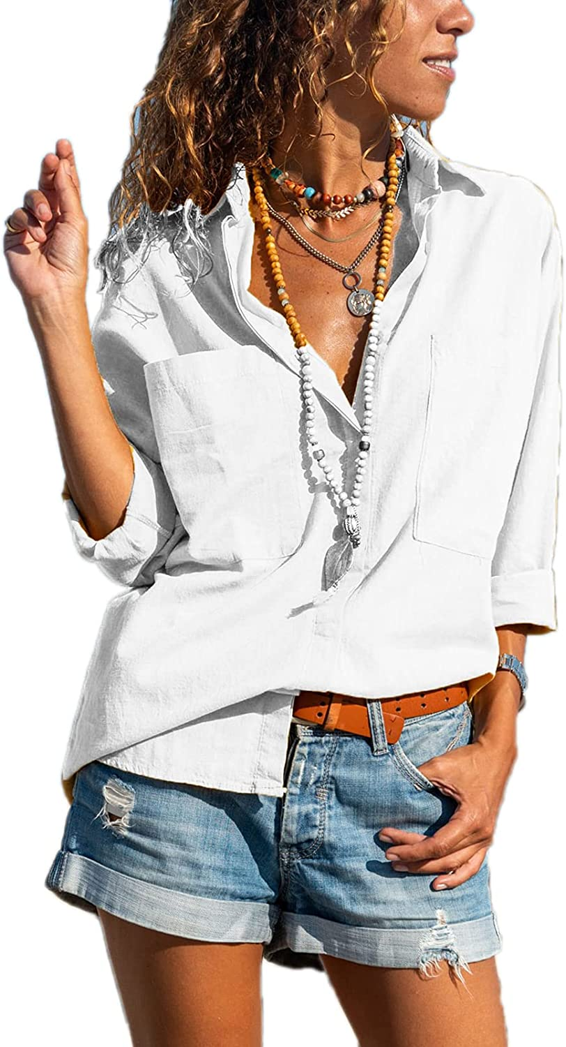 Paintcolors Women's Button Up Shirts Cotton Roll-Up Sleeve Blouses V Neck Casual Tunics Solid Color Tops with Pockets