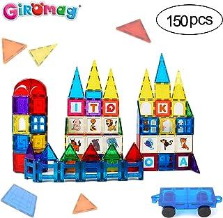 GIROMAG Magnet Stick and Stack Iward Winning 150 Piece MEGA Set Includes 1 Wheel Bases- Magnetic Block Buliding Sets Toys ...