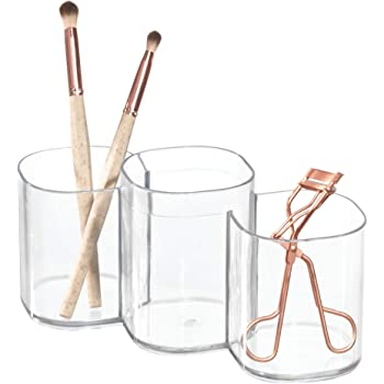 iDesign Clarity Plastic Divided Vanity, Multi-Level Bathroom Accessory Organization, 3 Compartments, Trio Cup