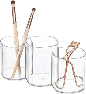iDesign rangement maquillage à 3 compartiments, gobelet transparent en plastique, rangement salle de bain pour le maquilla...