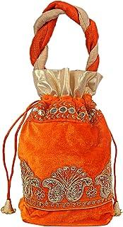 Kuber Industries Velvet 1 Pieces Women Potli Bag (Orange) -CTKTC5915
