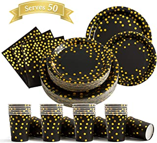 200Pcs Black and Gold Party Supplies - Gold Dot on Black Paper Plates and Napkins Cups Sets Serves 50 for Graduation Birthday Parties