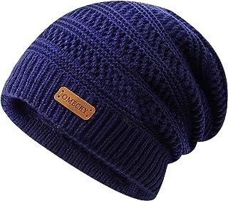 OMECHY Winter Knit Warm Hat for Mens & Women Stretch Plain Beanie Cuff Toboggan Cap