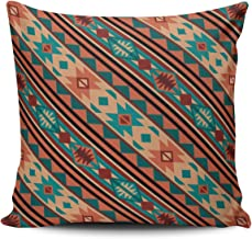 Fanaing Brown and Teal Southwestern Design Turquoise Terracotta Pillowcase Home Sofa Decorative 16X16 Inch Square Throw Pillow Case Decor Cushion Covers Double Sided Printed
