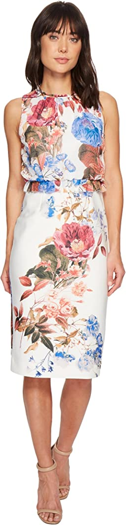 Sleeveless Printed Scuba Crepe Shift Dress