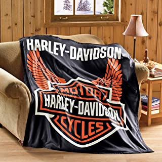 Collections Etc Harley Davidson Motorcycle Fleece Throw Blanket Standard