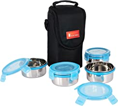 Amazon Brand - Solimo Stainless Steel Lunch Box Set with Bag, 300ml,  4-Pieces, Blue