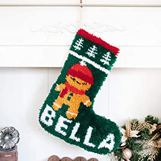 Beyond Your Thoughts Latch Hook Kits DIY Christmas Stockings with Pattern Printed Shaggy Decoration Christmas Ornament Bag for Family-New Christmas Gingerbread Man