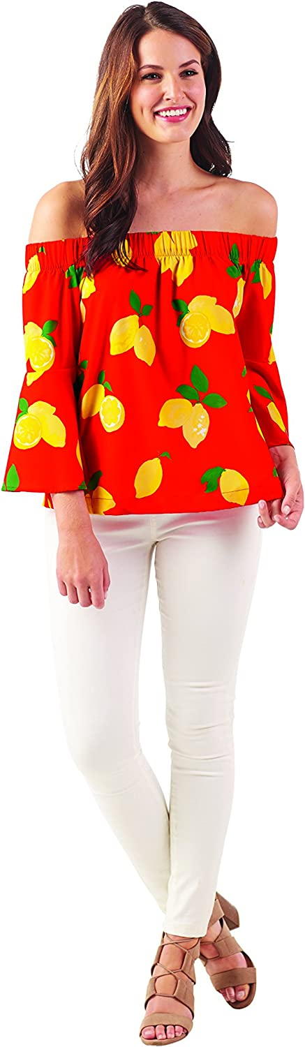Mud Pie Women's Fashion Izzy Off TheShoulder Top Red Lemon (Small)