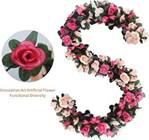 AnoKe 6pcs 49 FT Rose Vine Flowers Plants - BSTC Artificial Flower Fake Flowers Rose Vine Ivy Garlands Hanging for Wedding Party Garden Wall Decoration Silk Flowers Pink