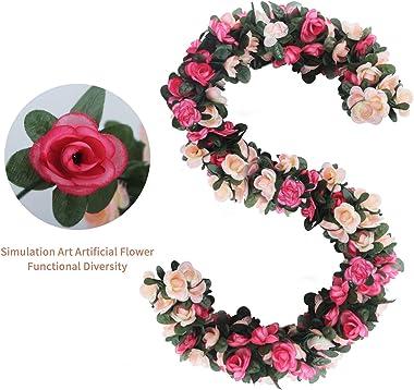 6pcs 49 FT Rose Vine Flowers Plants - BSTC Artificial Flower Fake Flowers Rose Vine Ivy Garlands Hanging for Wedding Party Ga