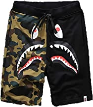 Athletic Pants Shark Pattern Camouflage Stitching Shorts Men Drawstring Sports Shorts