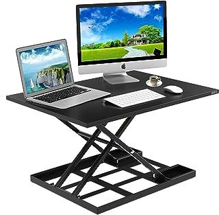 Standing Desk Stand Up Desks Height Adjustable Sit Stand Converter Laptop Stands Large Wide Rising Black Dual Monitor PC Desktop Computer Riser Table Workstation Foldable Extender Ergonomic 32 inch