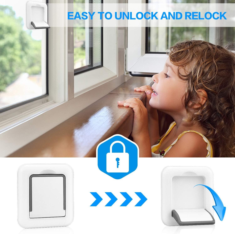 Improved Sliding Glass Door Lock,Sliding Door Child Lock,Closet Door Security for Sliding Window Baby Safety Lock,Child Safety Lock,2Pack