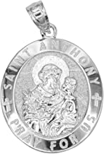 Ice on Fire Jewelry 14k Solid Gold Oval Saint Anthony Medal Necklace