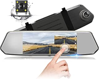 TOGUARD Backup Camera 7 Mirror Dash Cam Touch Screen 1080P Rearview Front and Rear Dual Lens with Waterproof Reversing Camera