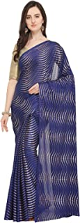 ishin Women's Poly Georgette Foil Printed Saree (Navy Blue)
