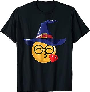 Nerd Witch Hat Kiss Emoji Face Halloween Costume T-Shirt