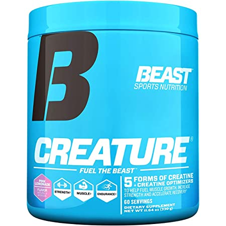 Beast Sports Nutrition – Creature Creatine Complex – Fuel Muscle Growth – Increase Strength – Enhance Endurance – Reduce Recovery Time – 5 Forms of Creatine – Pink Lemonade 60 Servings