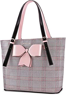 MOSISO Laptop Bag for Women,15.6 inch Laptop Tote Bag Premium PU Leather Grid Pattern Large Capacity Work Business Travel Computer Briefcase Handbag with Pink Bowknot Compatible MacBook &Notebook,Gray