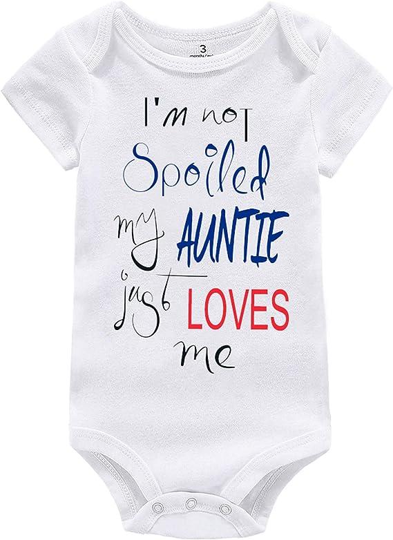 Amberetech Newborn Baby Girl Summer Romper Im Sassy Like My Auntie Print Cotton Bodysuit Clothing
