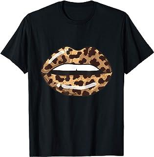 Leopard Lips Fashion Lip Art Design Imprimir regalo Camiseta