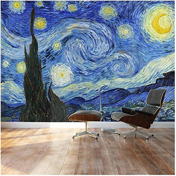 Wall26 Large Wall Mural Famous Oil Painting Reproduction Of Starry Night By Vincent Van Gogh Self Adhesive Vinyl Wallpaper Removable Modern Decorating Wall Art 100 X 144