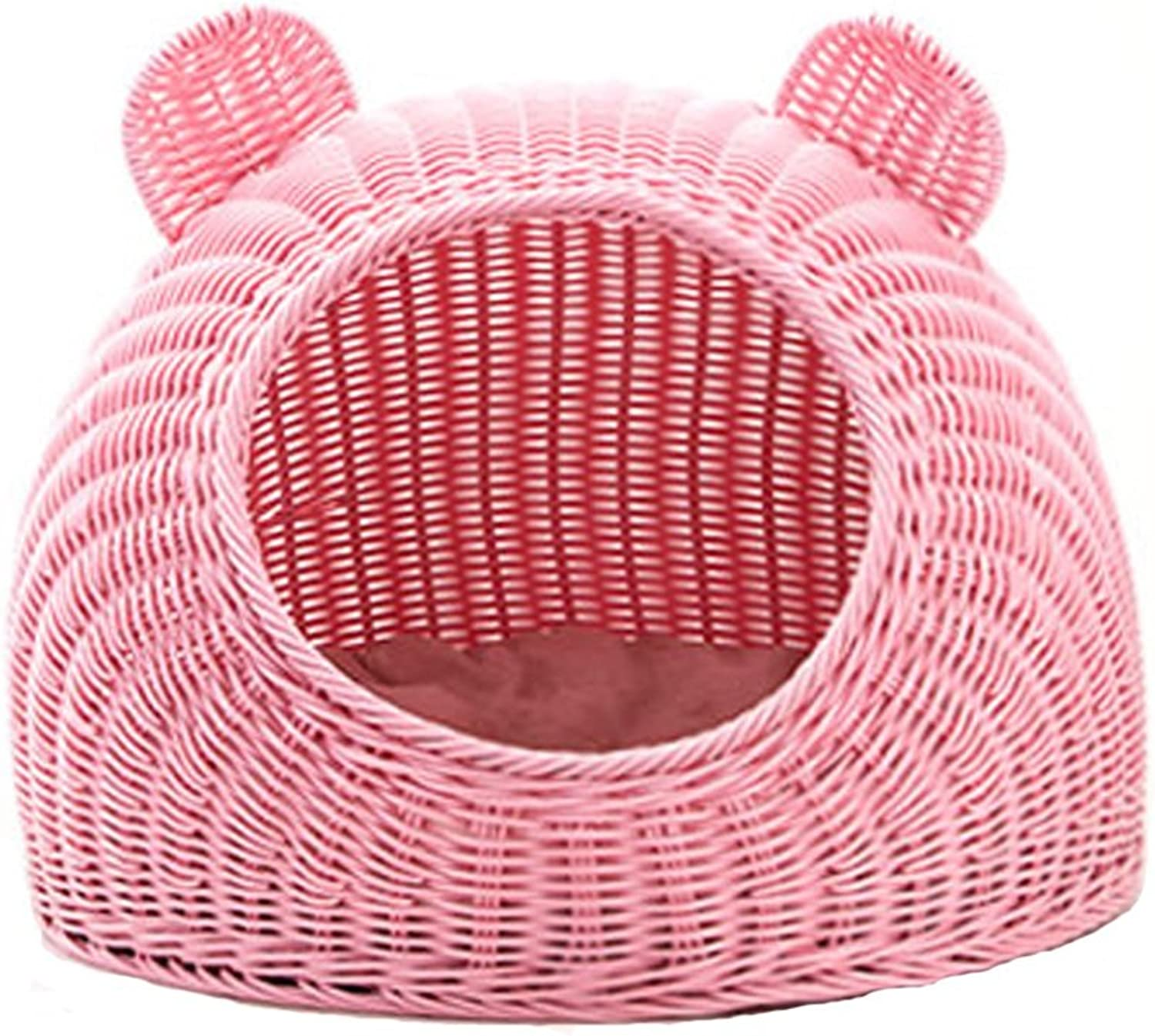 Pet bed Pet nest-Pet house Rattan Cat Nest Summer Enclosed Cat House Doghouse Pet Litter Cat Supplies Bed Mat Sleeping Bag Four Seasons Universal  & (color   PINK, Size   35 x 25 cm)
