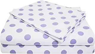 American Baby Company 100% Natural Cotton Percale Toddler Bedding Sheet Set, White/Lavender Dot, 3 Piece, Soft Breathable, for Girls