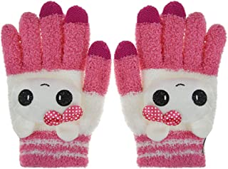 Greenery Cute Winter Wool Touchscreen Gloves Mitten, iPhone Gloves, Texting Gloves for Girls/Ladies, Great Gift for Christmas Day/ New Year (Rose Cute Cat)