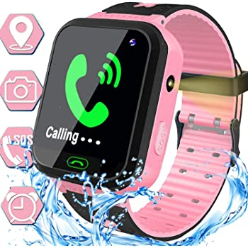 Waterproof Kids Smart Watch - GPS Tracker Smartwatch Phone for Boys Girls - Smart Watch with SOS Two-Way Call Games Touch Screen Digital Wrist Watch Holiday Toys Birthday Gifts (Pink)