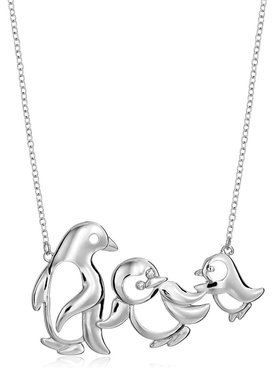 Sterling Silver Penguin Family Necklace, 18