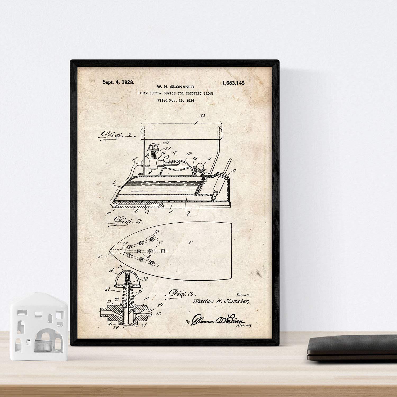 Nacnic Poster con Patente de Plancha con Vapor electrica. Lámina ...