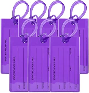 TravelMore Luggage Tags for Suitcases - Flexible Name ID Labels Set for Travel (7 Pack - Purple)