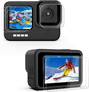 Kupton Skärmskydd för GoPro Hero 9 svarta 6 st, 2 × ultratydligt härdat glasskärmskydd, 2 × härdat glaslinsskydd, 2 × härd...