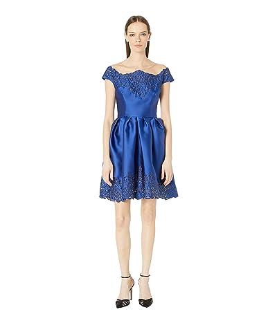 Marchesa Off the Shoulder Duchess Satin Cocktail Dress with Laser Cut and Embellished Neckline and Skirt (Cobalt) Women