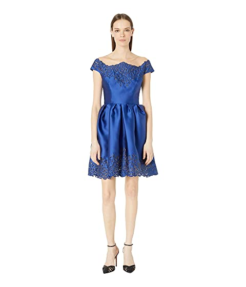 Marchesa Off the Shoulder Duchess Satin Cocktail Dress with Laser Cut and Embellished Neckline and Skirt