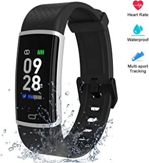 Fitpolo Fitness Tracker with Heart Rate Monitor, Smart Watch Waterproof Step Calorie Counter Pedometer Watches Activity Tracker for Women Men Kids (Black)