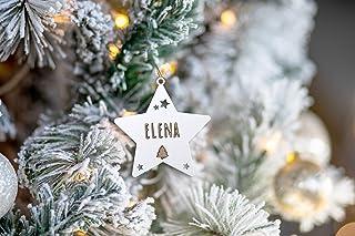 KARIVOO Estrella personalizada con nombre para decoración árbol de navidad en madera MD
