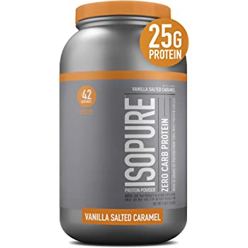 Isopure Zero Carb, Vitamin C and Zinc for Immune Support, 25g Protein, Keto Friendly Protein Powder, 100% Whey Protein Isolate, Flavor: Vanilla Salted Caramel, 3 Pounds (Packaging May Vary)