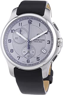 Victorinox Swiss Army Men's 241553.2 Leather Officers Quartz Analog Chronograph Silver Dial Watch