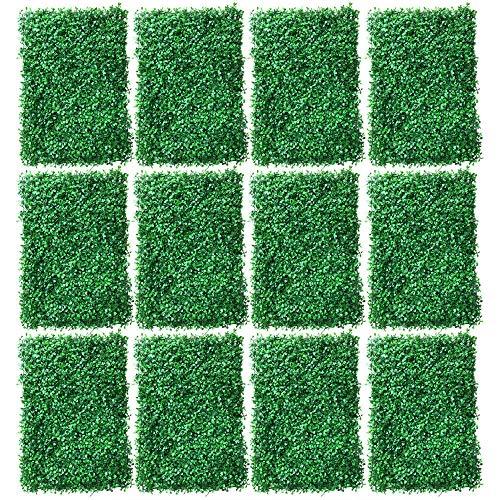 12 unidades de setos artificiales, plantas de césped, pared de hiedra artificial, decoración de pared, verde oscuro, 60 x 40 x 4 cm, para valla, patio, camino, habitación(Ordinario)