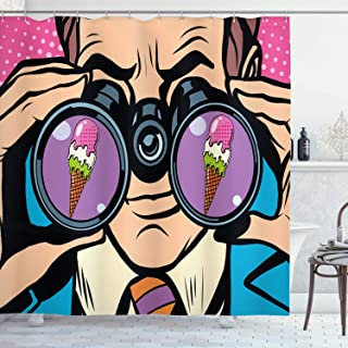 Ambesonne Comics Decor Shower Curtain by, Business Man Wants Ice Cream Pop Art Retro Style Parody Humor Cartoon Illustration, Fabric Bathroom Decor Set with Hooks, 70 Inches, Multi