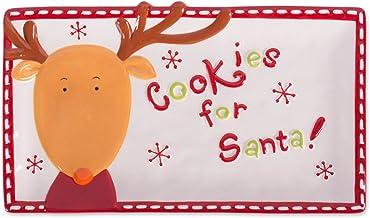 DII Christmas Ceramics Cookie Plate, 11.2x6.5, Reindeer