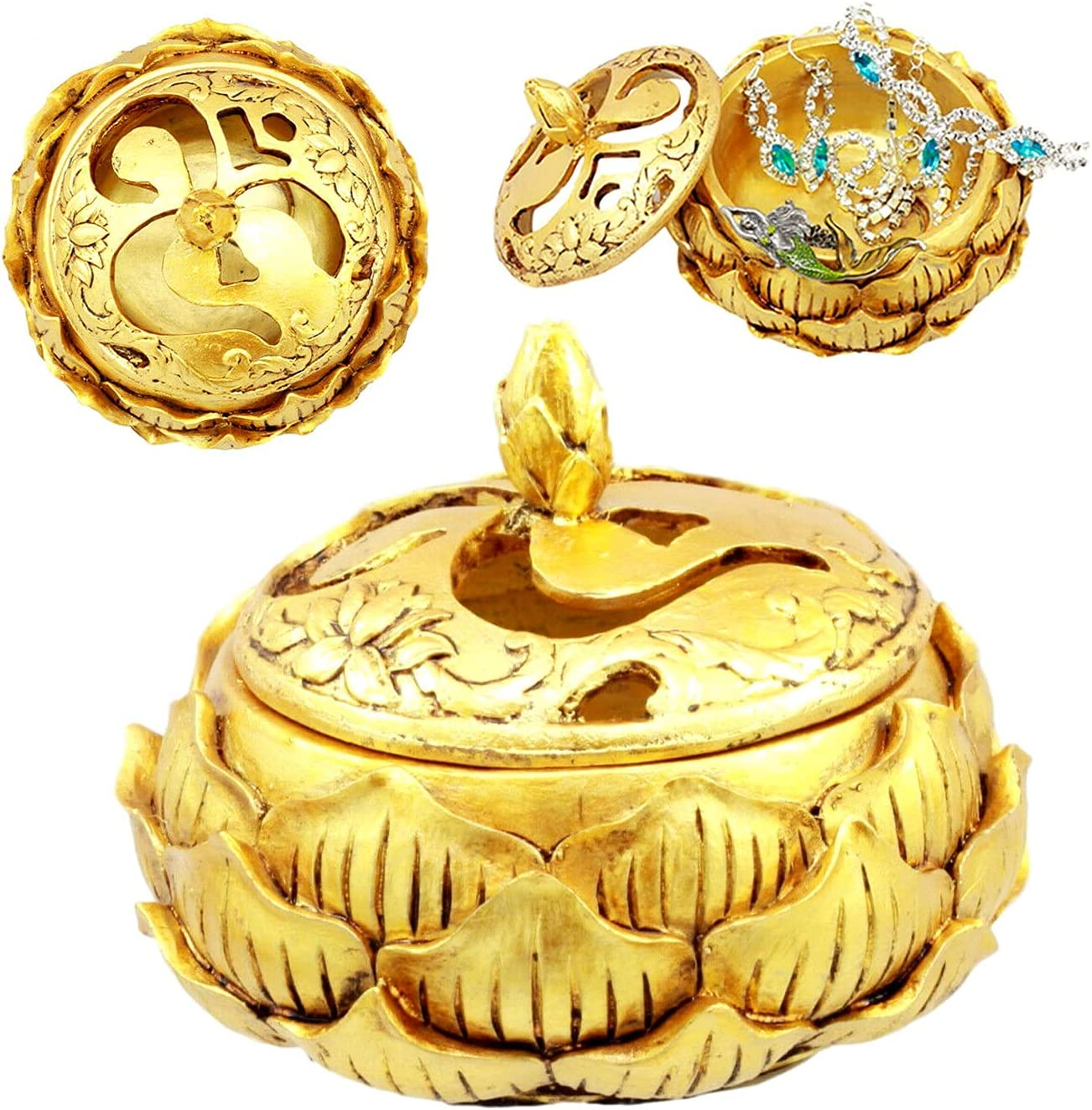 New Time sale Auspicious Golden Buddha Las Vegas Mall Ohm Lotus Carved Padma Round Jewelr
