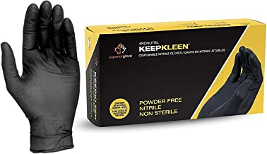 Large Latex Free Industrial and Household Modern Grip 18195-L Nitrile 8 mil Thickness Premium Disposable Heavy Duty Gloves Powder Free Black Diamond Textured for Superior Grip 50 count