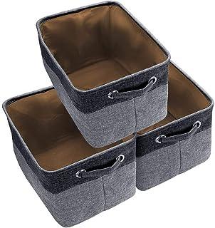 Awekris Closet Storage Bins [3-Pack] Foldable Storage Basket Collapsible Fabric Storage Boxes with Cotton Handles Organize...
